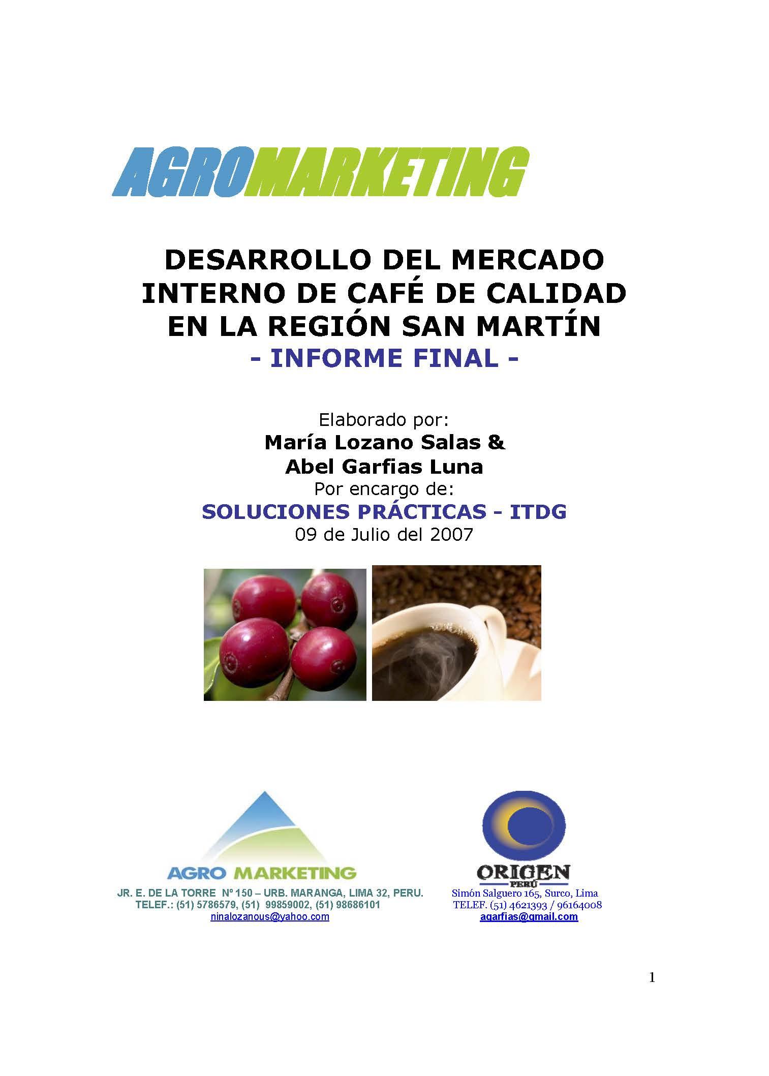 Desarrollo del mercado interno de café de calidad en la región San Martín