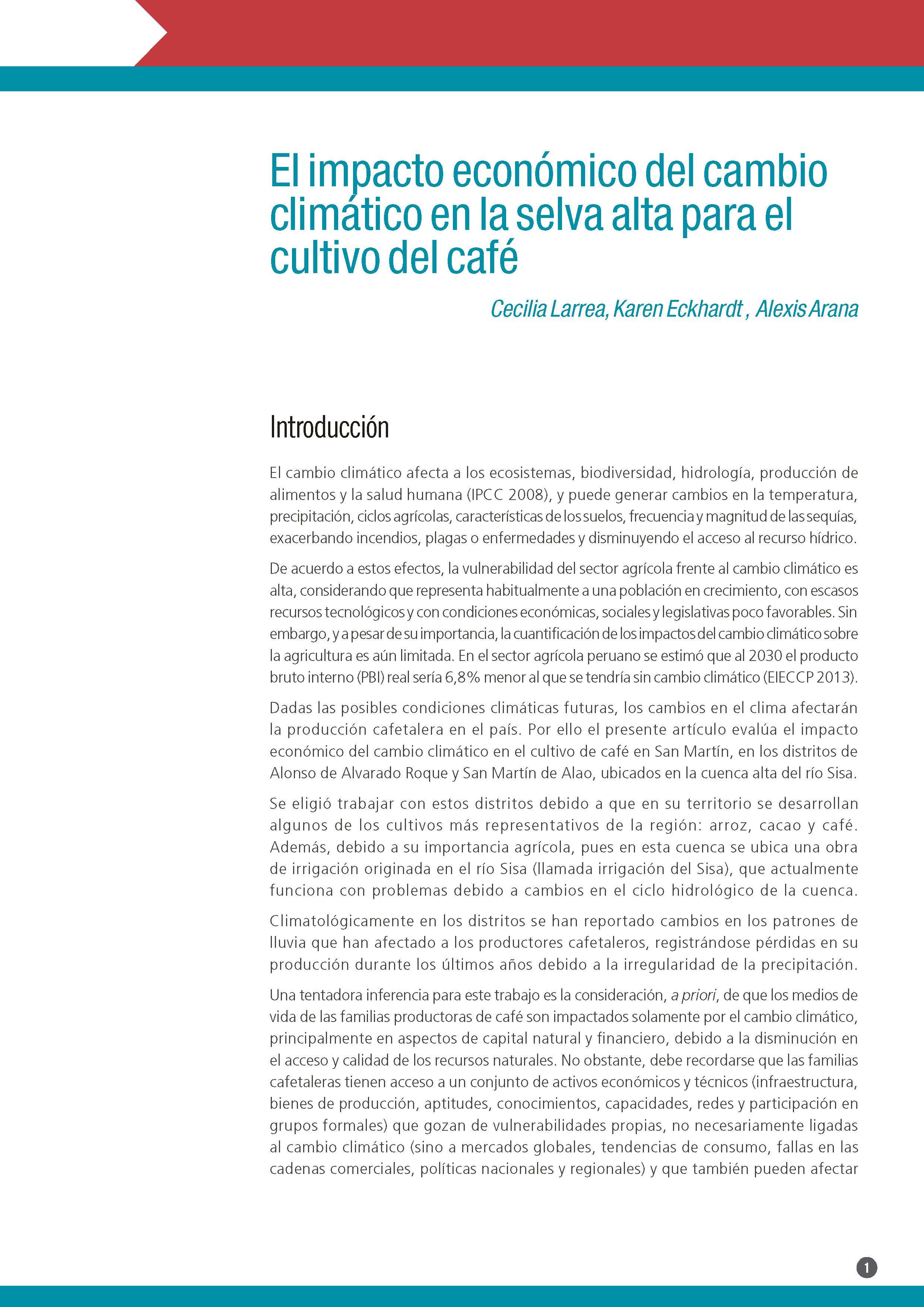 El impacto económico del cambio climático en la selva alta para el cultivo del café