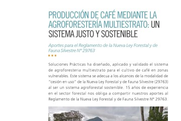 producción de café mediante agroforestería