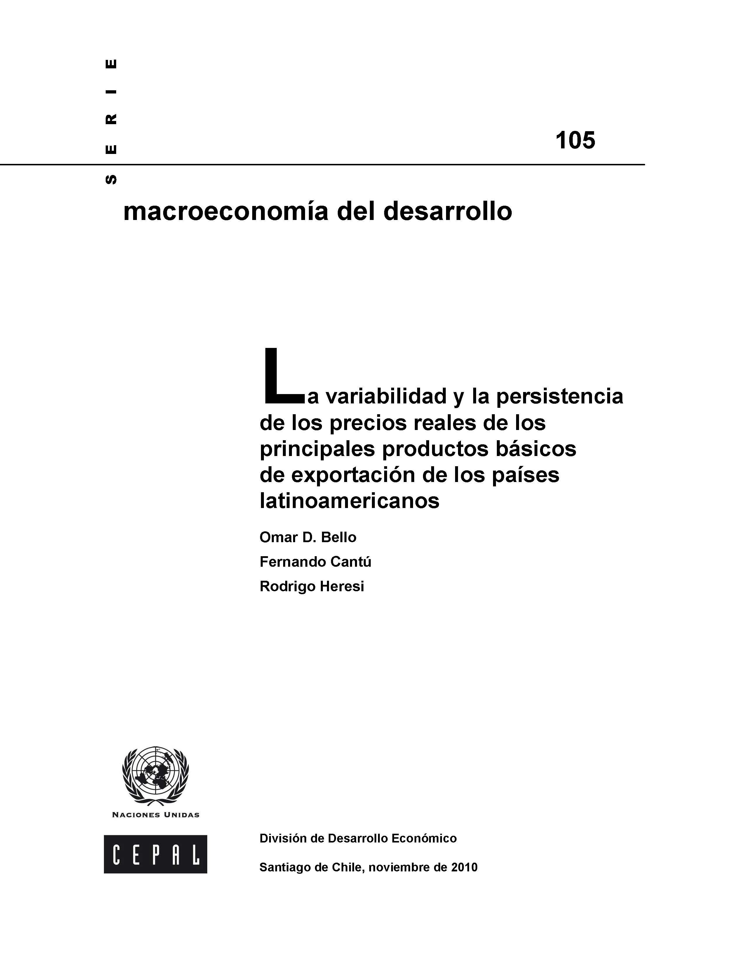 variabilidad y persistencia precios productos básicos de exportación LA