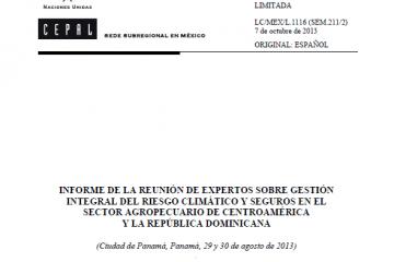 Informe gestión integral del riesgo climático y seguros en el sector agropecuario Centroamérica